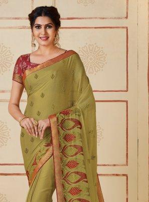 Green Faux Chiffon Designer Contemporary Saree
