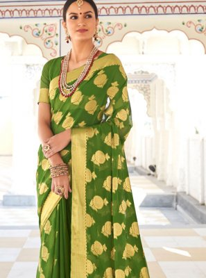 Green Faux Chiffon Traditional Saree