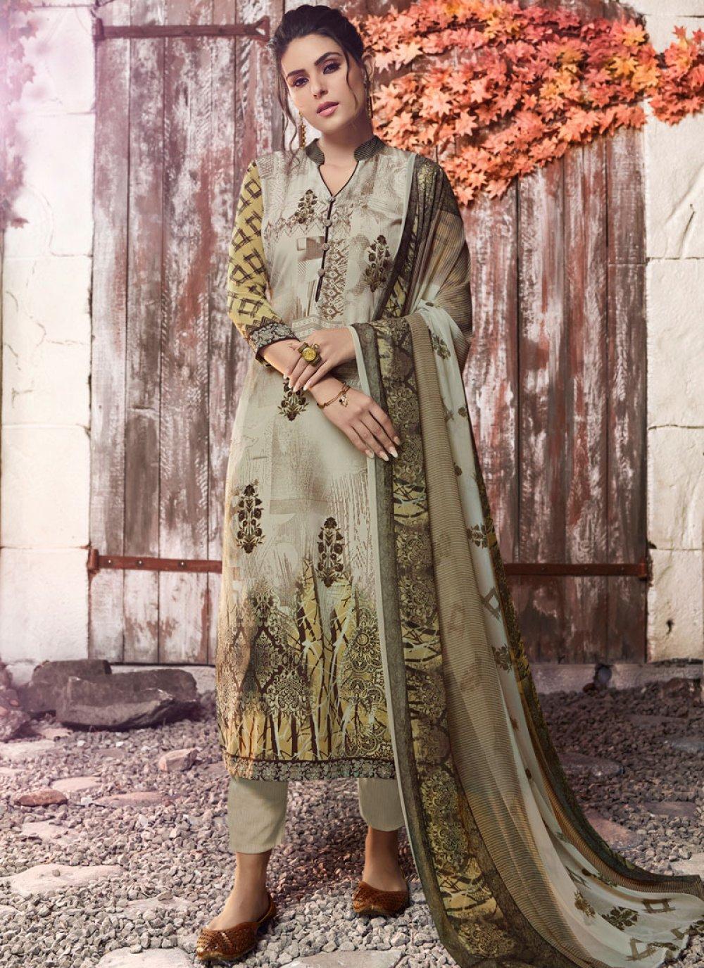 Green Faux Crepe Designer Pakistani Suit