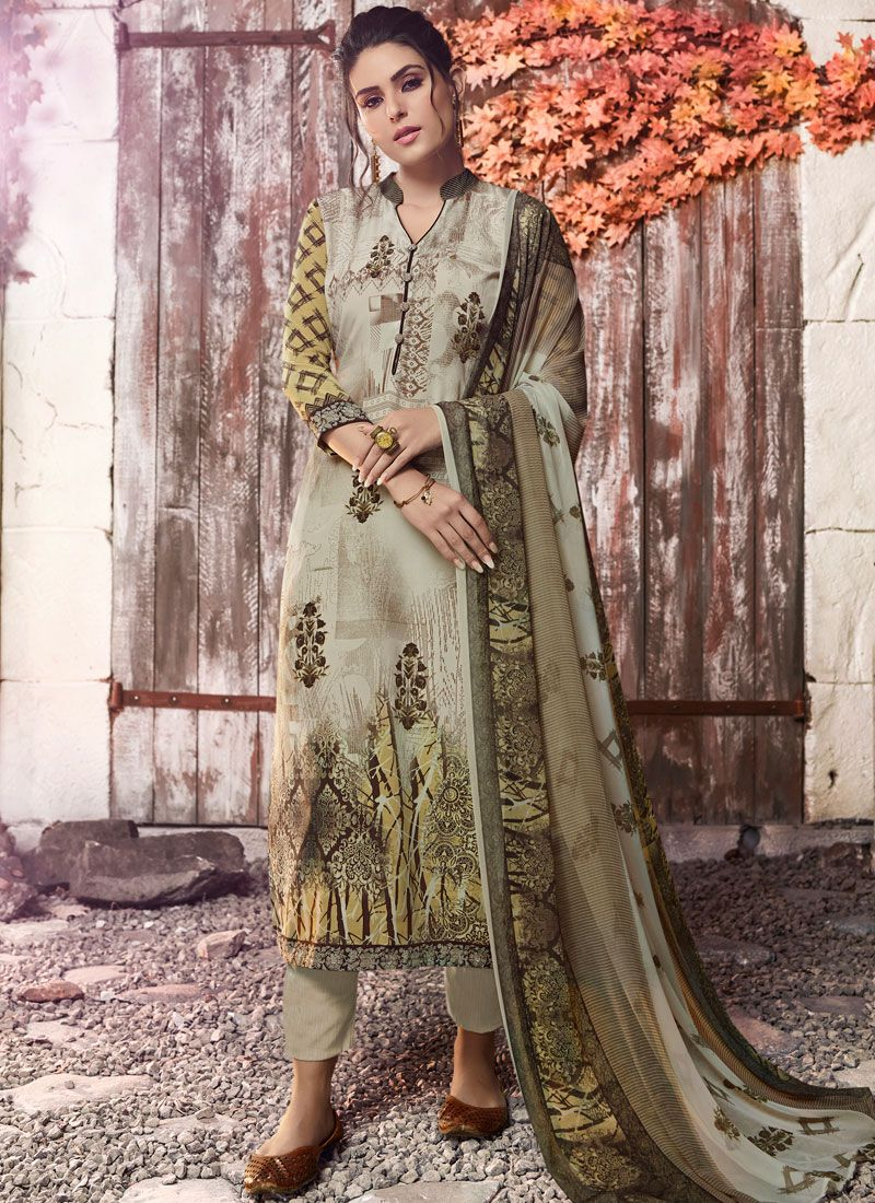 Green Faux Crepe Designer Pakistani Suit