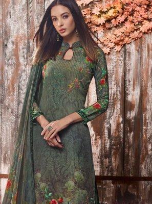 Green Faux Crepe Mehndi Palazzo Salwar Suit