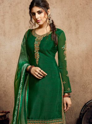 Green Faux Crepe Party Designer Patiala Salwar Kameez