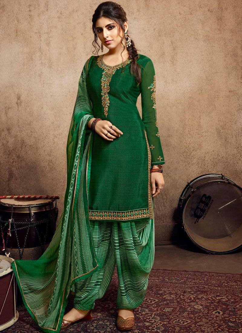 Green Faux Crepe Party Designer Patiala Salwar Kameez