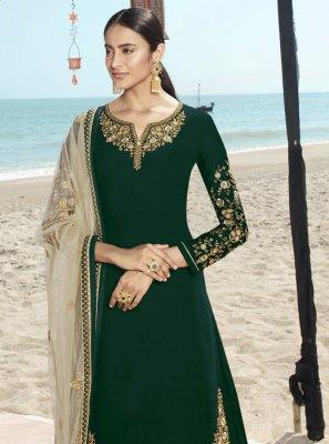 Green Faux Georgette Salwar Suit