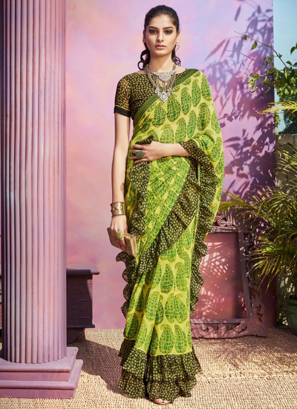 Green Festival Casual Saree