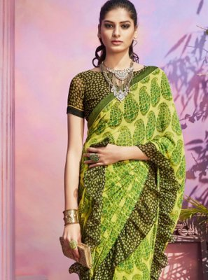 Green Festival Casual Saree