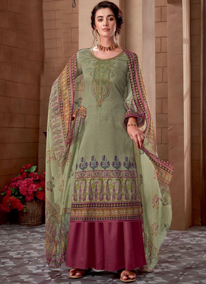 Green Festival Cotton Designer Palazzo Suit