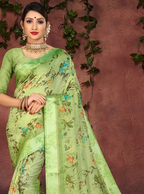 Green Festival Cotton Silk Casual Saree