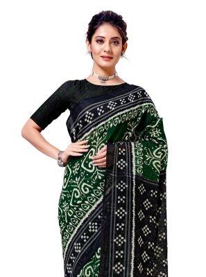 Green Festival Cotton Silk Casual Saree