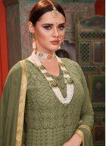 Green Festival Faux Georgette Anarkali Salwar Suit