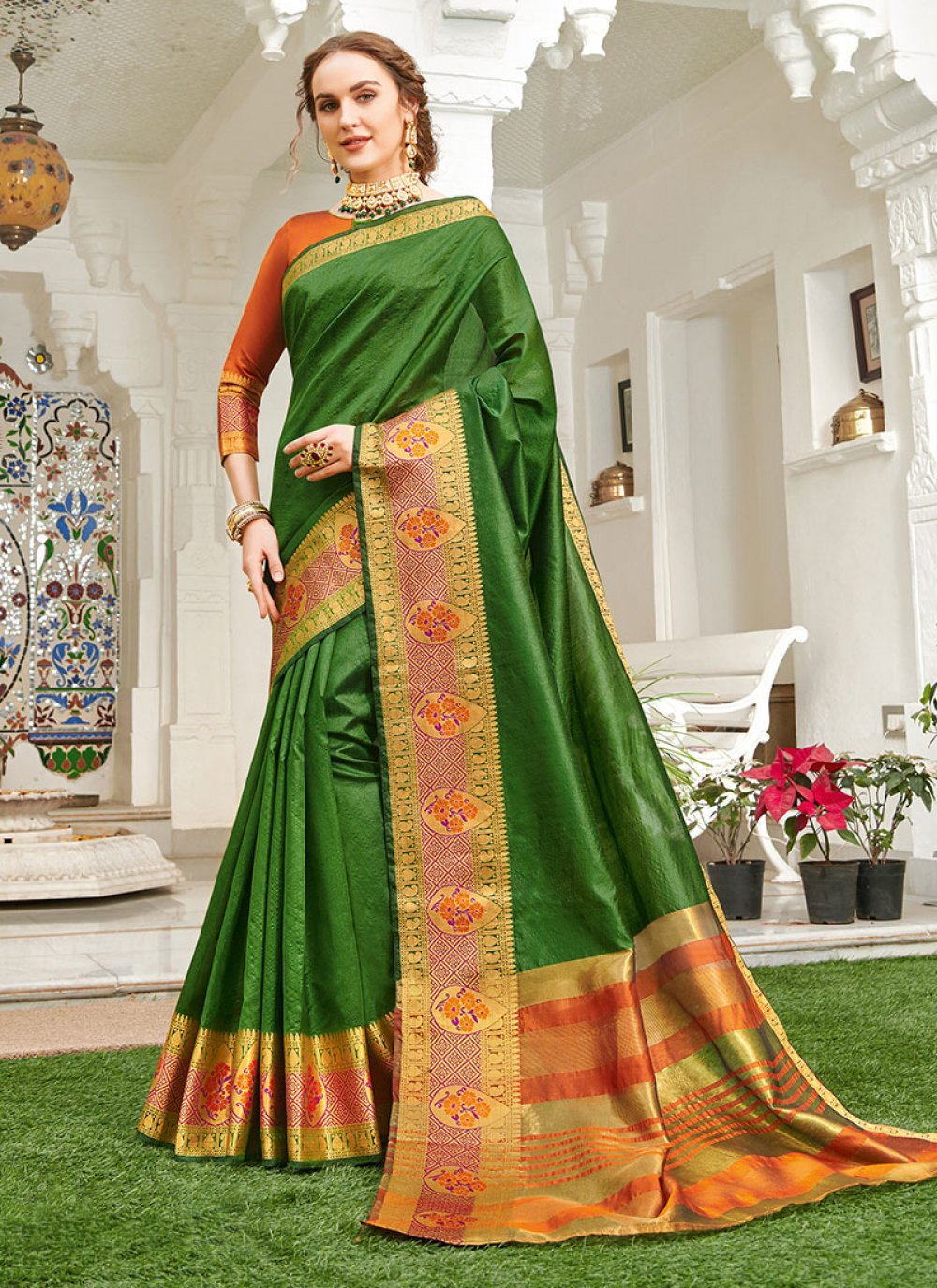 Green Festival Handloom silk Classic Saree