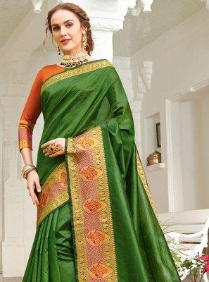 Green Festival Handloom silk Classic Saree