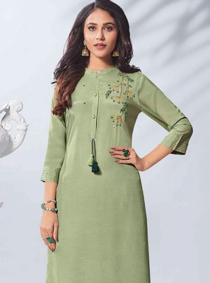 Green Festival Party Wear Kurti