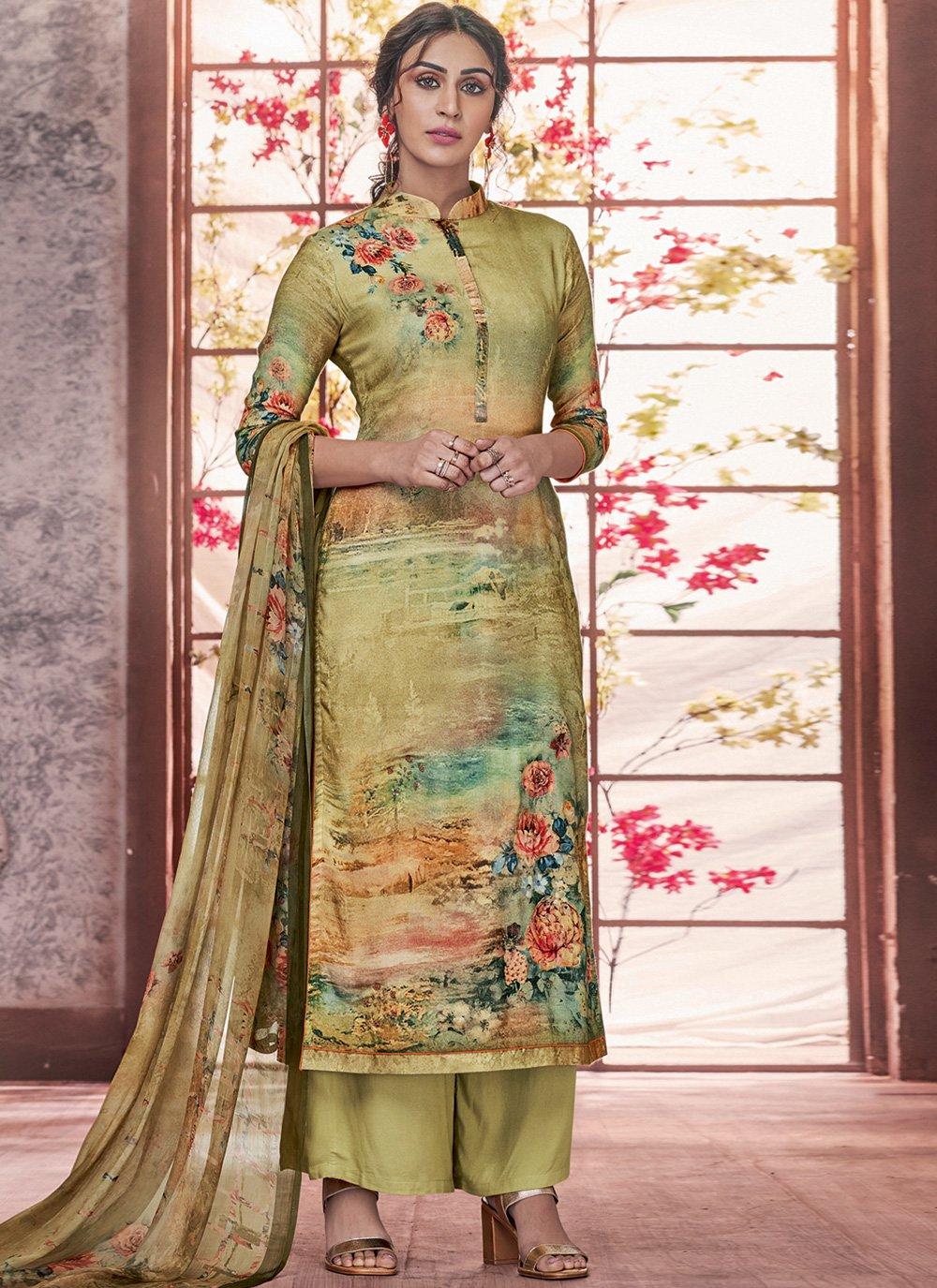 Green Festival Pashmina Salwar Suit