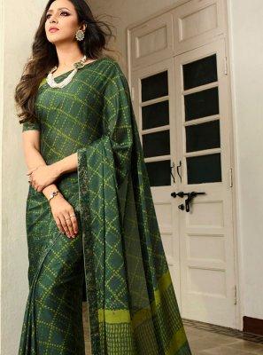 Green Festival Rangoli Printed Saree
