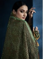 Green Foil Embroidered Designer Gown
