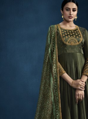 Green Foil Embroidered Designer Gown