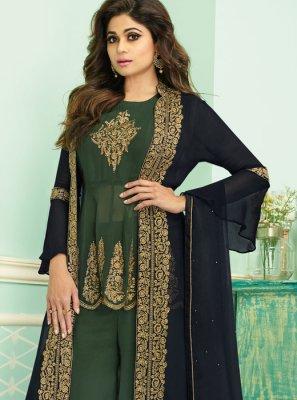 Green Georgette Designer Palazzo Salwar Suit