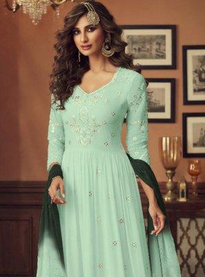 Green Georgette Designer Palazzo Suit
