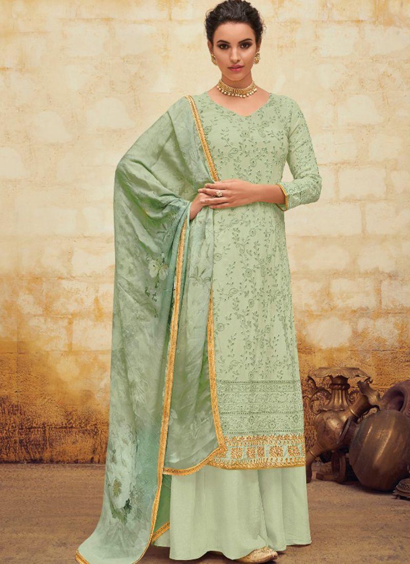 Green Georgette Digital Print Salwar Suit