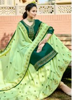 Green Georgette Embroidered A Line Lehenga Choli