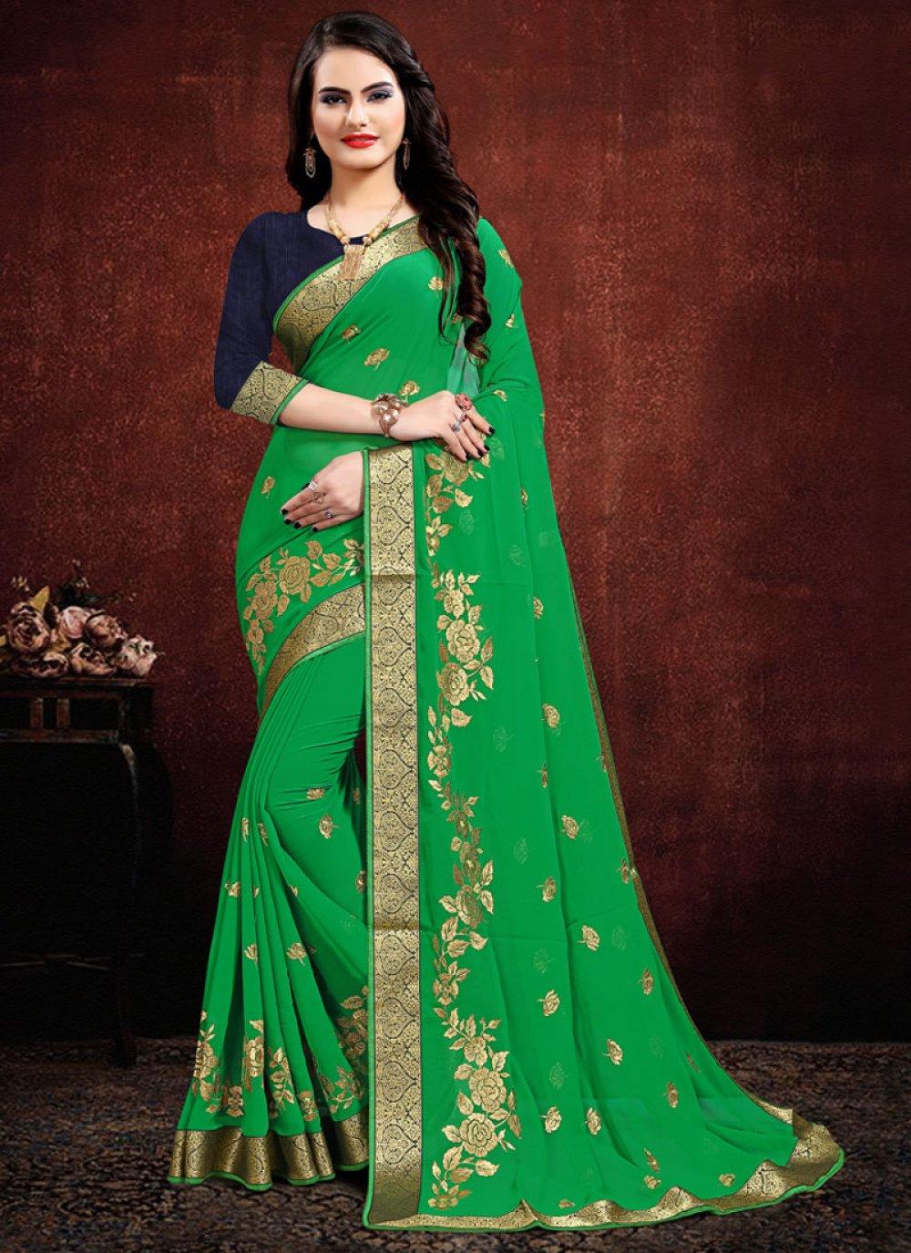 Green Georgette Embroidered Classic Designer Saree