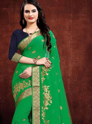 Green Georgette Embroidered Classic Designer Saree