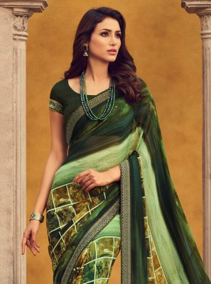 Green Georgette Festival Classic Saree