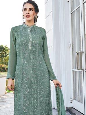 Green Georgette Mehndi Trendy Salwar Kameez