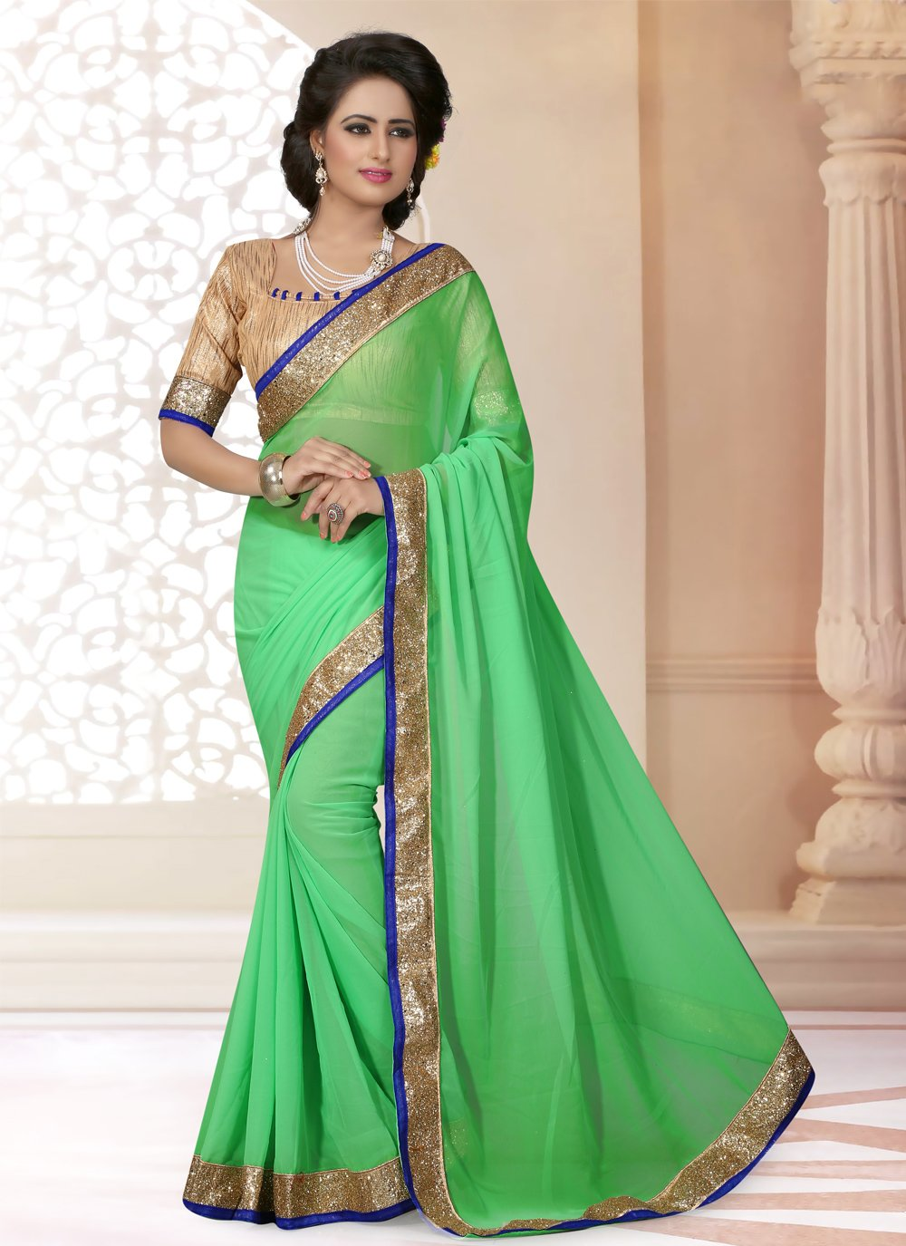 Green Georgette Party Saree