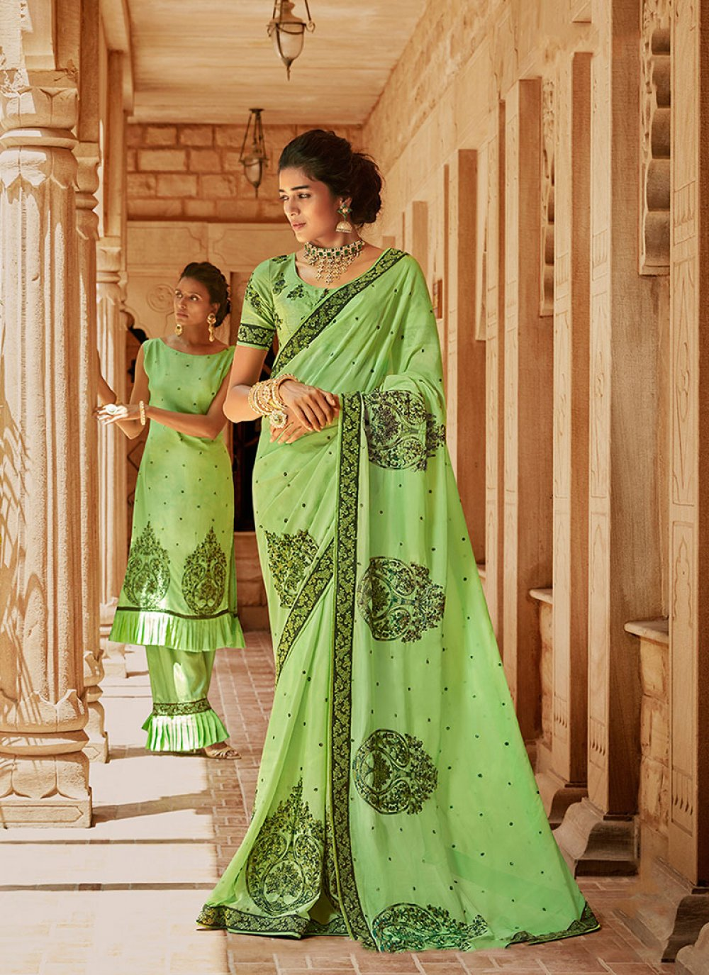 Green Georgette Satin Classic Saree