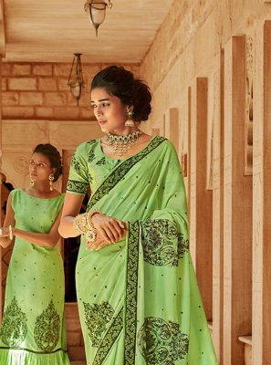 Green Georgette Satin Classic Saree