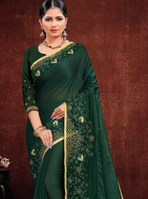 Green Georgette Satin Resham Classic Saree