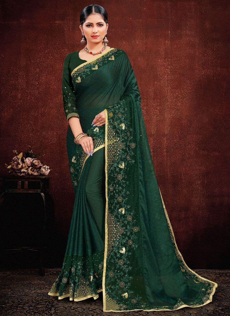 Green Georgette Satin Resham Classic Saree