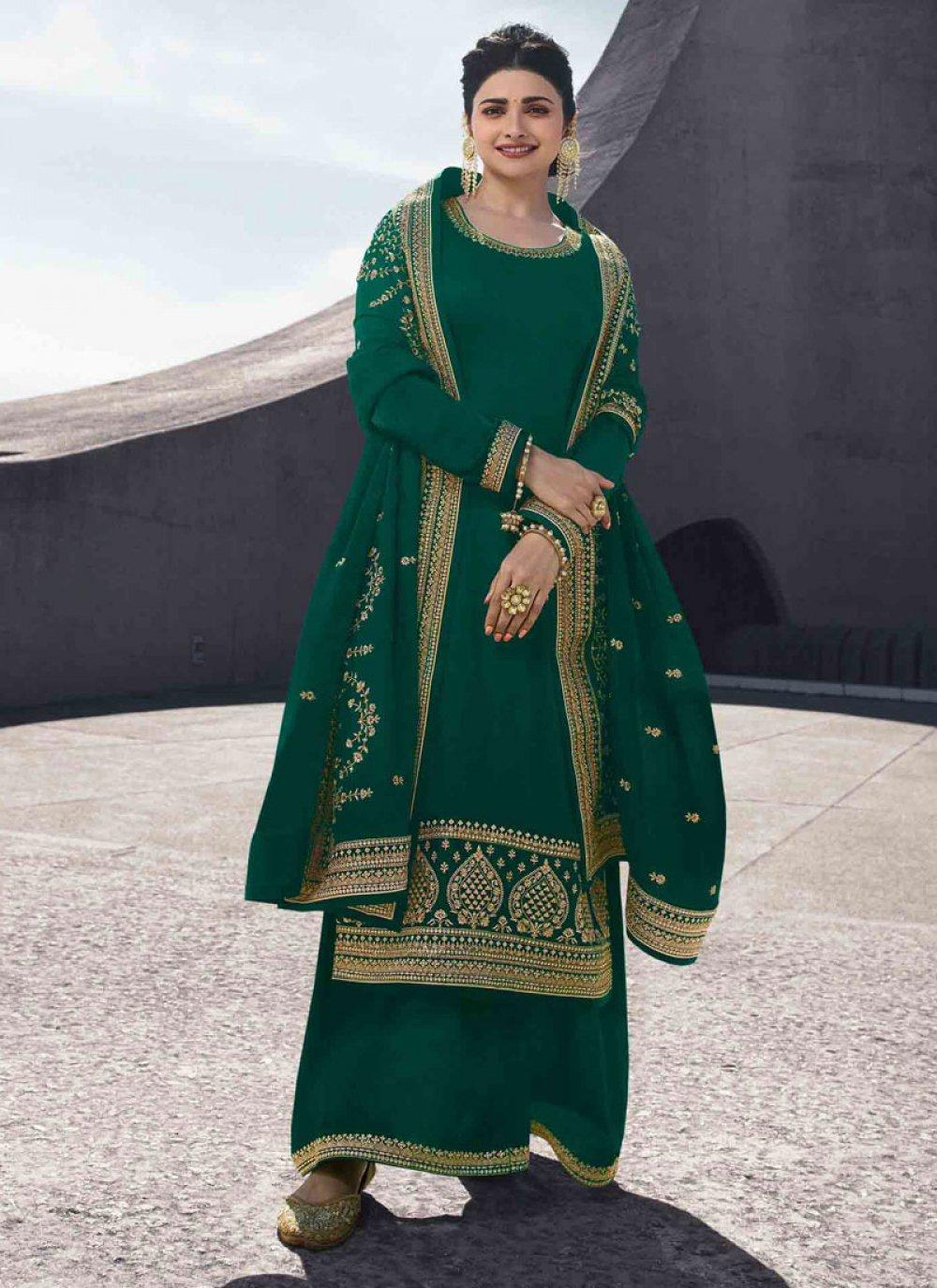 Green Georgette Satin Salwar Kameez