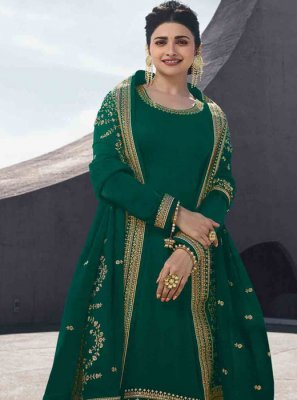 Green Georgette Satin Salwar Kameez