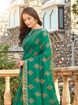 Green Handloom Cotton Classic Designer Saree