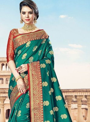 Green Handloom Cotton Designer Traditional Saree