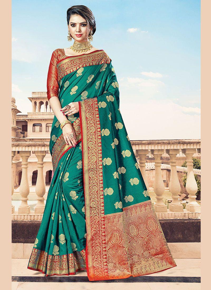 Green Handloom Cotton Designer Traditional Saree