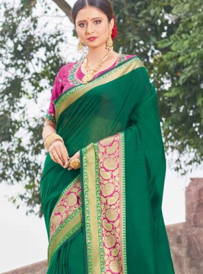 Green Handloom silk Classic Saree