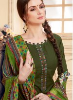 Green Jacquard Abstract Print Patiala Suit