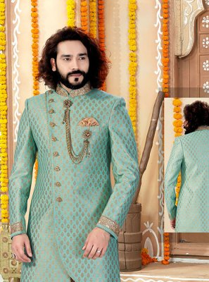 Green Jacquard Embroidered Indo Western