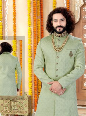 Green Jacquard Reception Sherwani