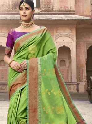 Green Jacquard Silk Party Classic Saree