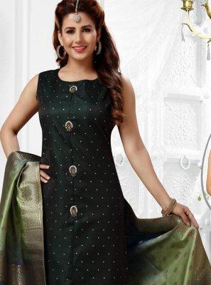 Green Jacquard Silk Salwar Suit