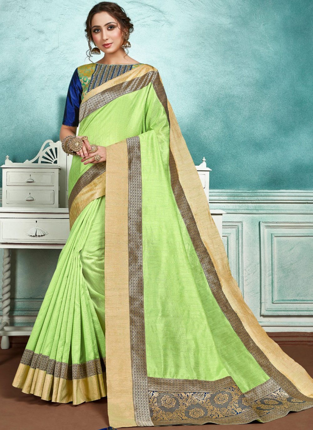 Green Jute Silk Border Designer Saree