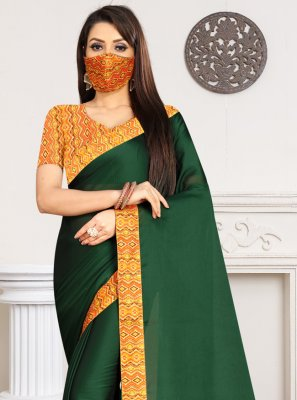 Green Lace Casual Trendy Saree