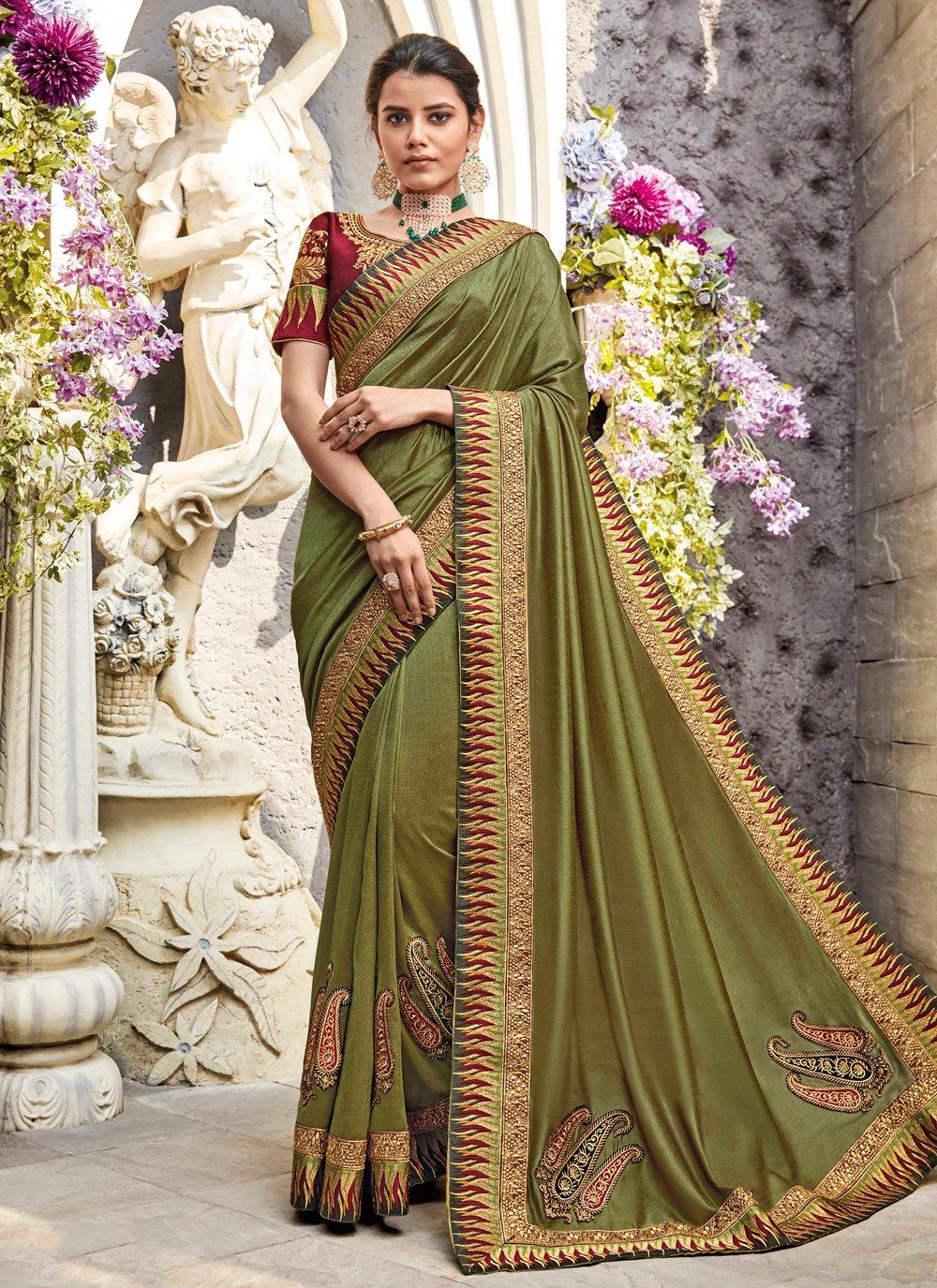 Green Lace Classic Designer Saree