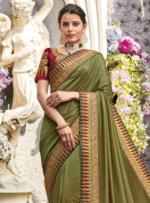 Green Lace Classic Designer Saree