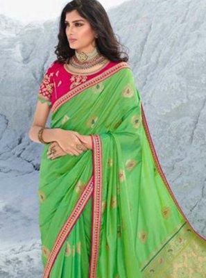 Green Lace Classic Saree